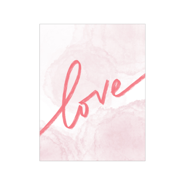 """Greeting card; white and coral watercolour background with coral handwritten text, """"love"""""""